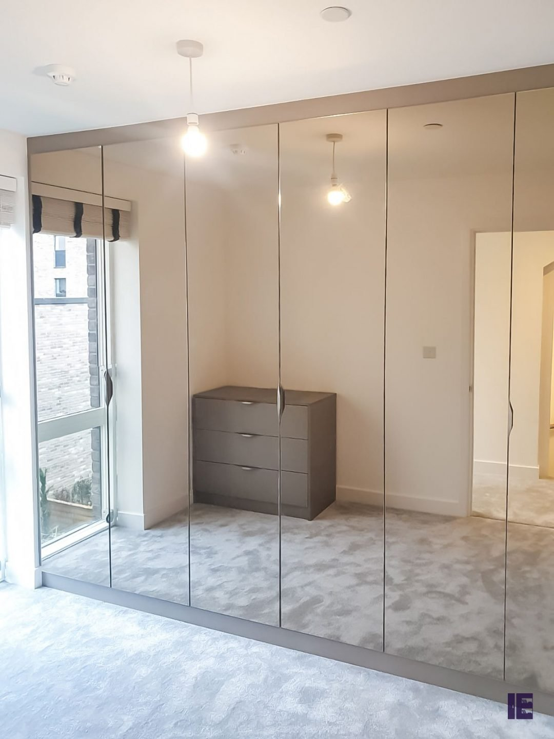 Hinged Fitted Wardrobe with full Mirror doors