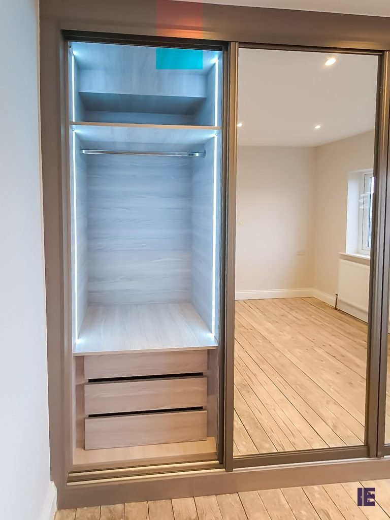 built in wardrobes sliding doors with mirrors with LED lights