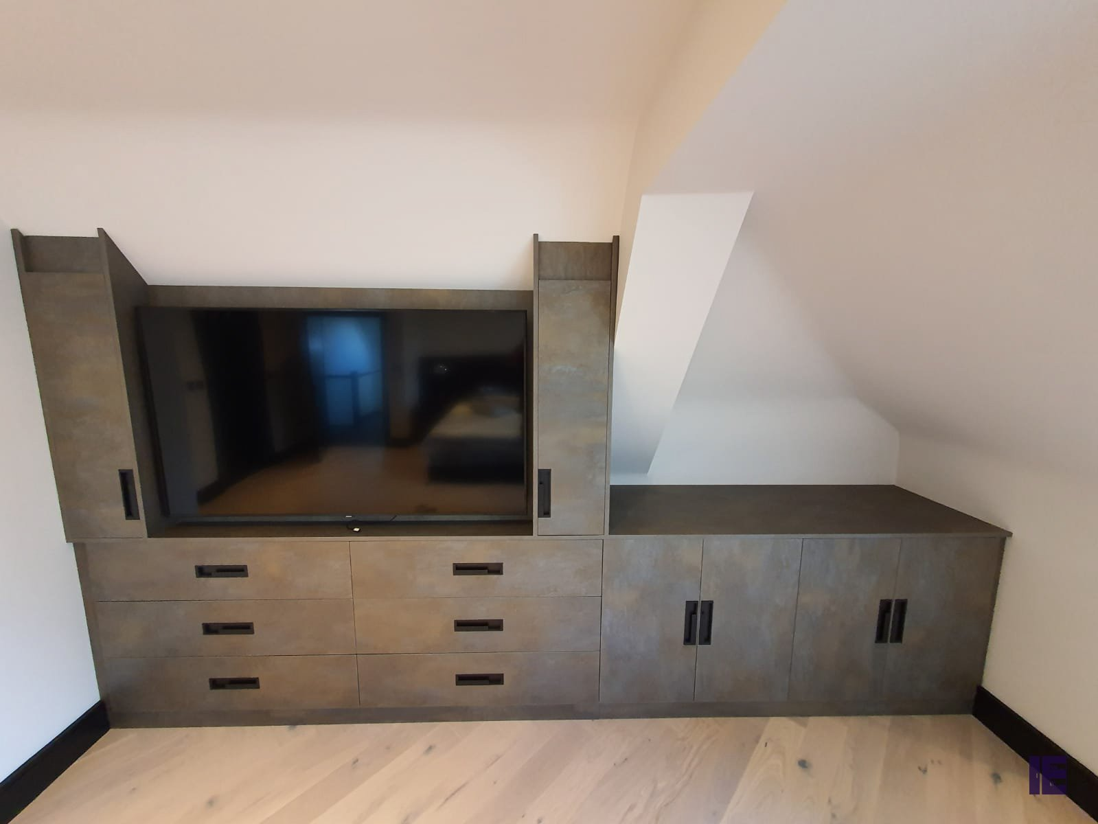 Bespoke Furniture, Loft fitted TV Area with CNC handle