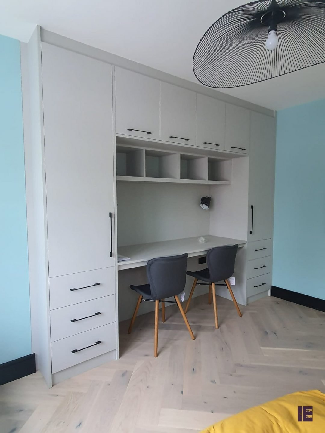 Bespoke Furniture, Study Area, Office Area, in light grey finish