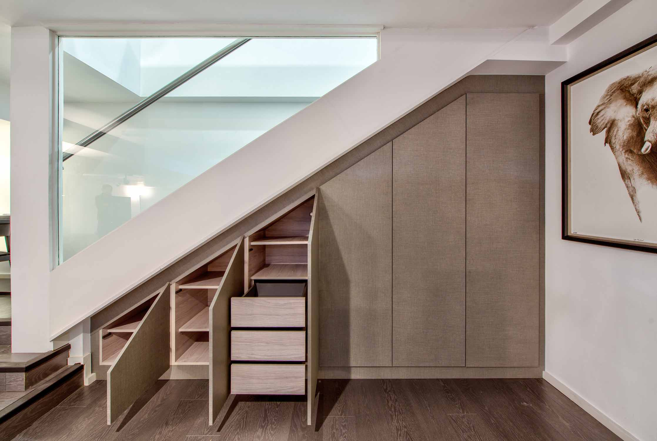Angled Loft Fitted Wardrobes linen ash bespoke