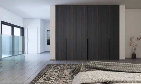 Hinged fitted wardrobe woodgrain finish with black long profile handle
