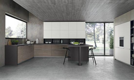 Kitchen 1_woodgrain finish with matt white combination