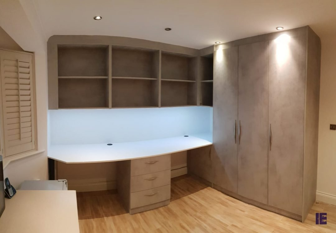 Bespoke fitted Study/Office Area with hinged fitted wardrobe