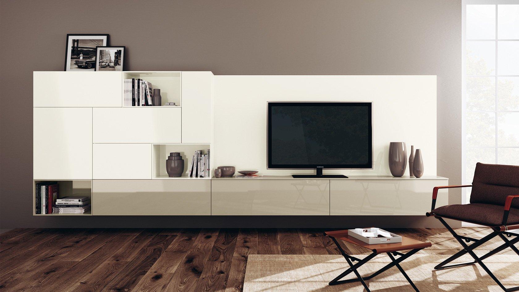 TV unit with gloss and matt combination