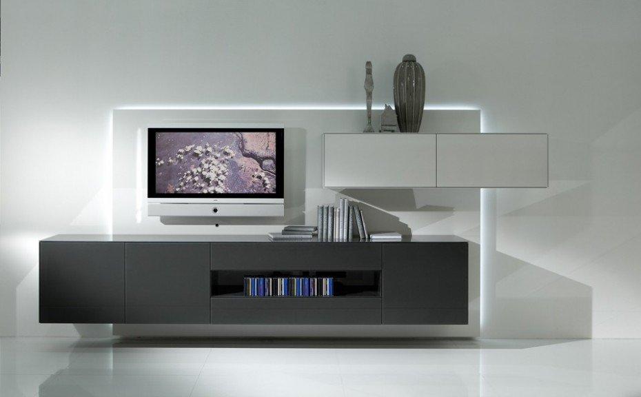 Modern TV unit in Dark Grey finish