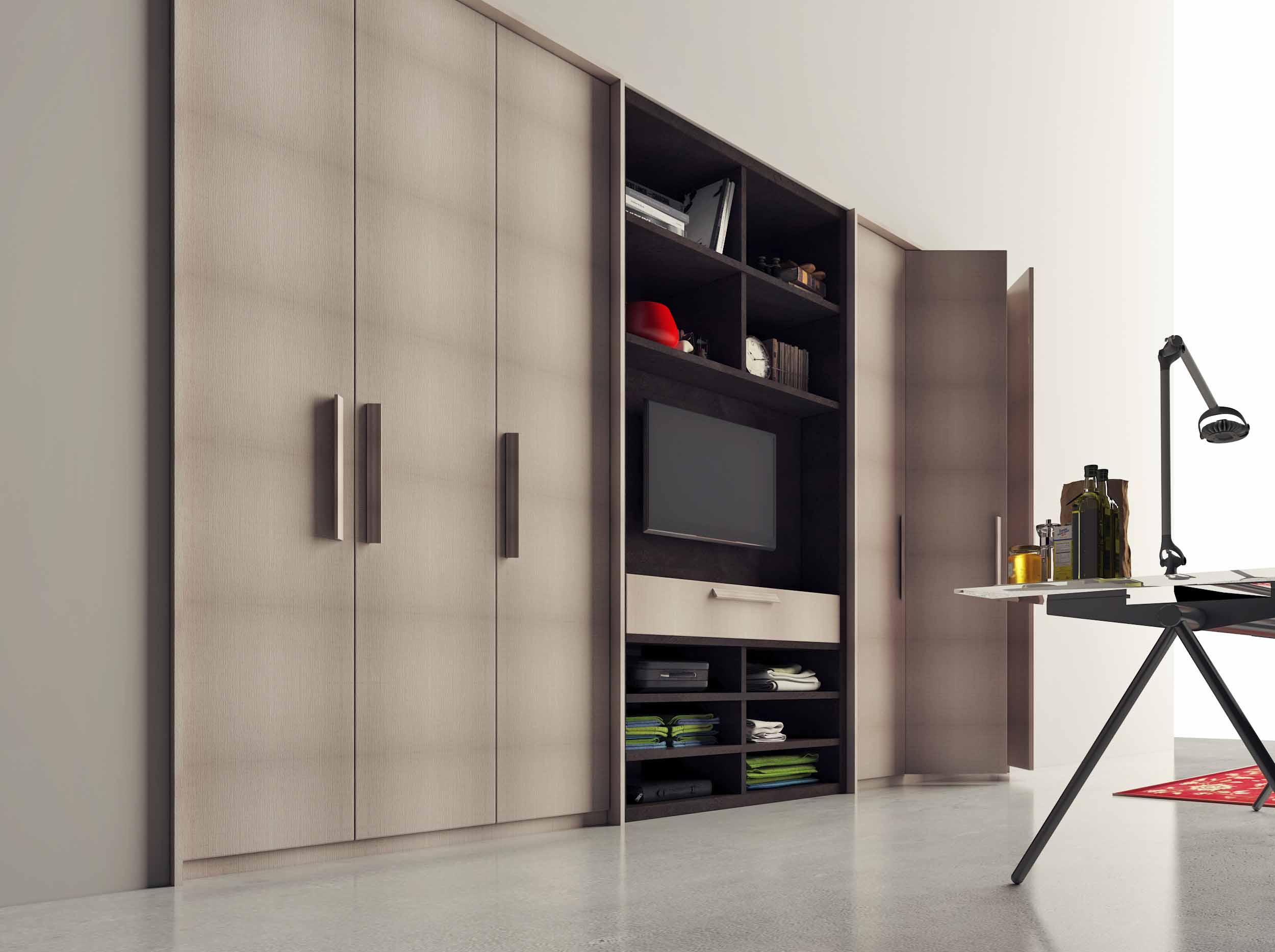 Hinged Wardrobe With Tv Storage Unit in Dark Grey Concrete Finish