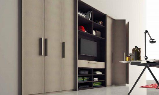 Hinged wardrobe with TV unit in Dark Grey Leather finish