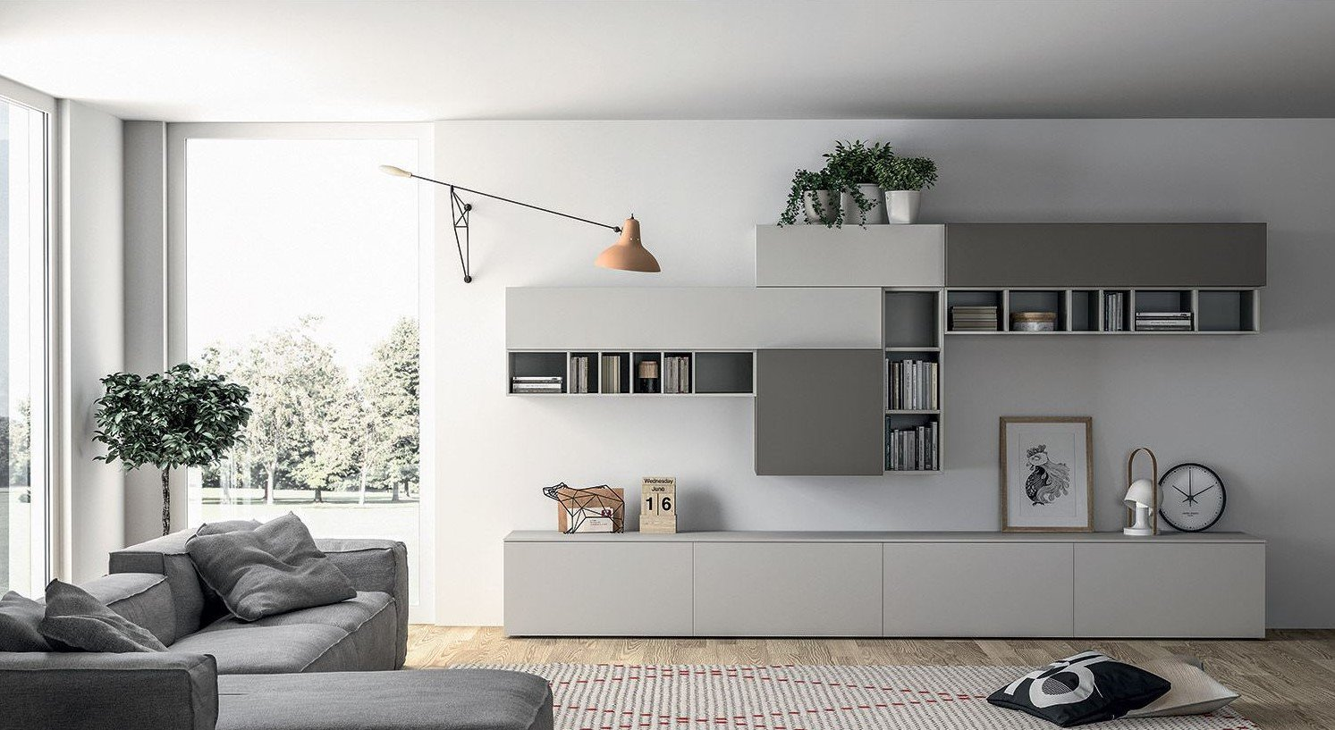 Living Room with display shelving