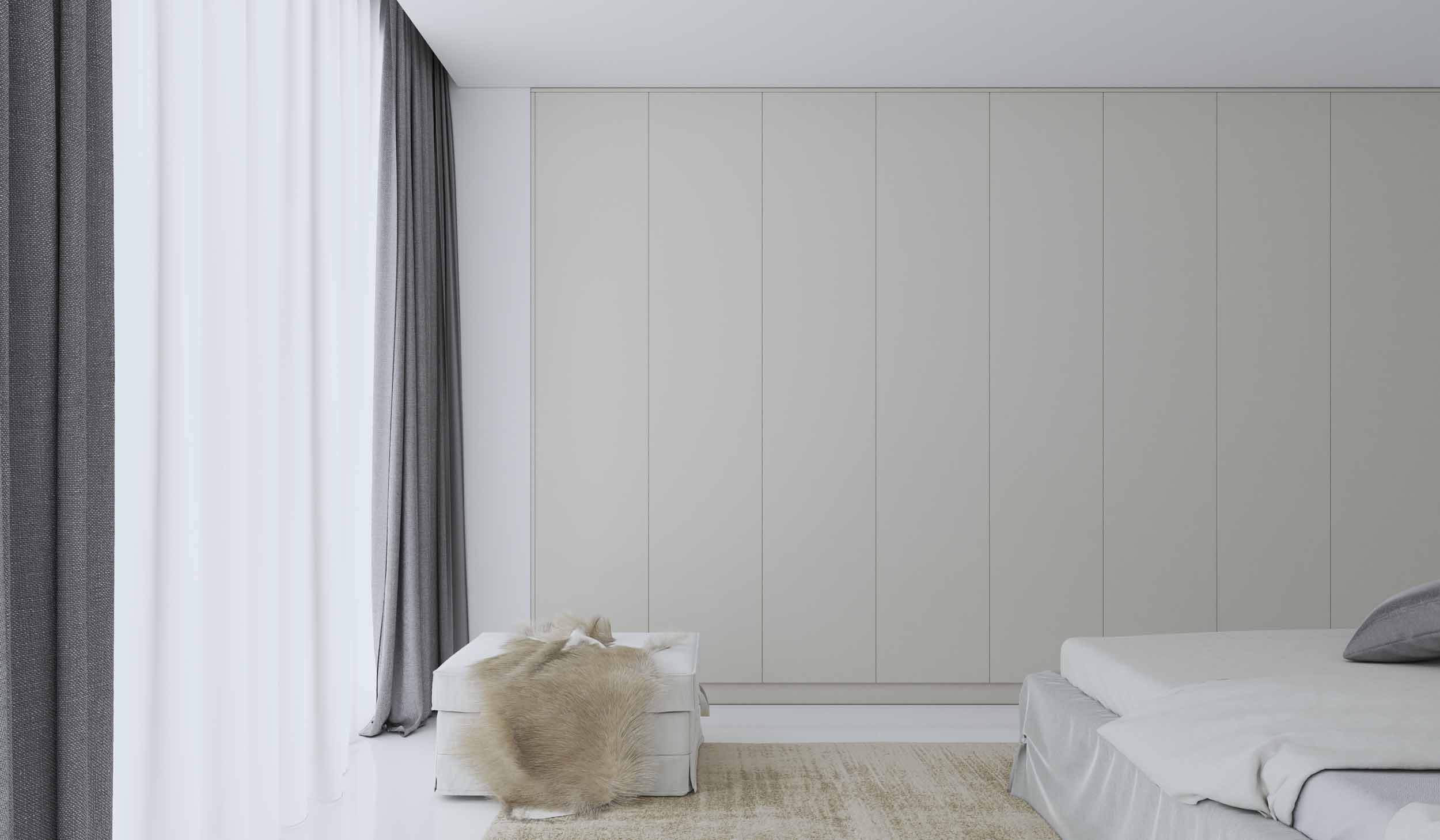 Folding Door Fitted Wardrobe in Gloss White Finish