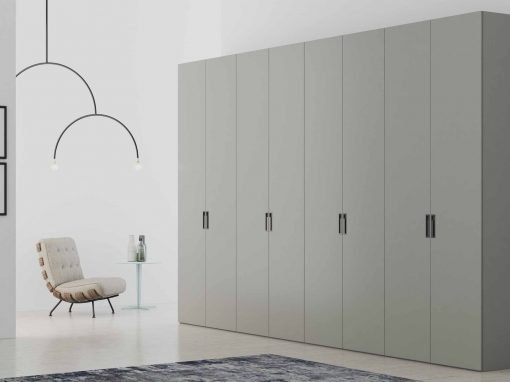 Hinged Fitted wardrobe with matt dust grey finish