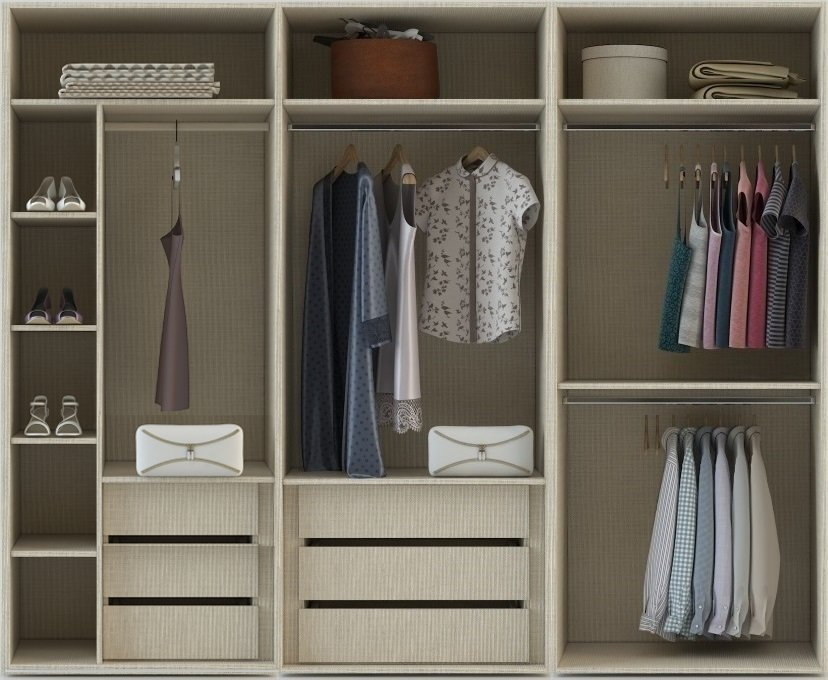 Internal FitteInternal Fitted Wardrobe Storage layout for 3 meters in linen 3 internal drawers