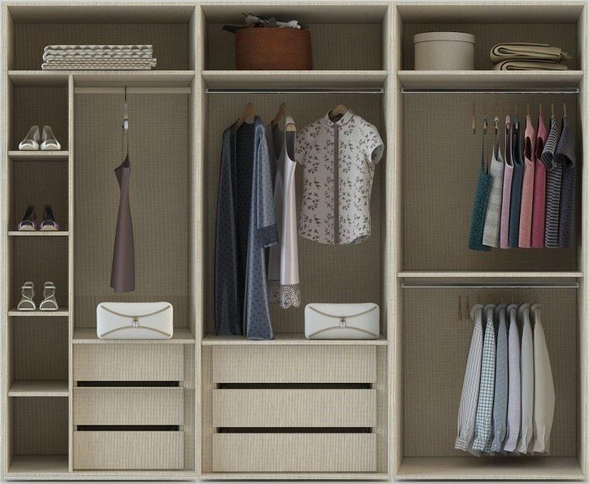 Internal FitteInternal Fitted Wardrobe Storage layout for 3 meters in linen 3 internal drawers