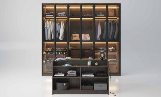 Linear glass fitted wardrobe wood grain finish with Island