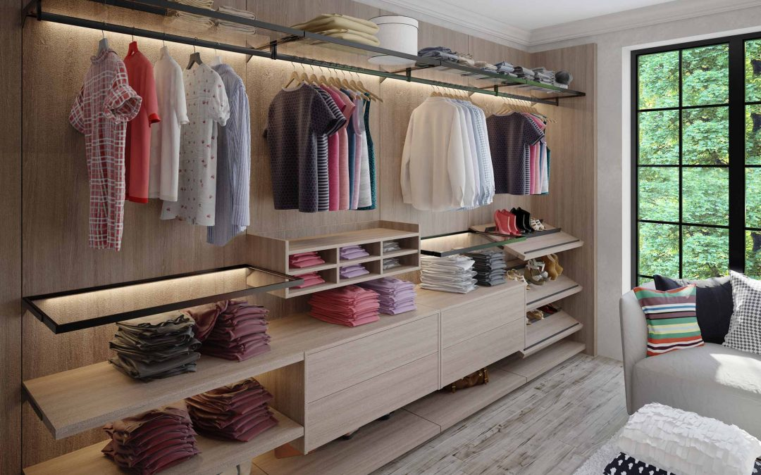 Linear Walkin wardrobe with vertiko profile woodgrain finish