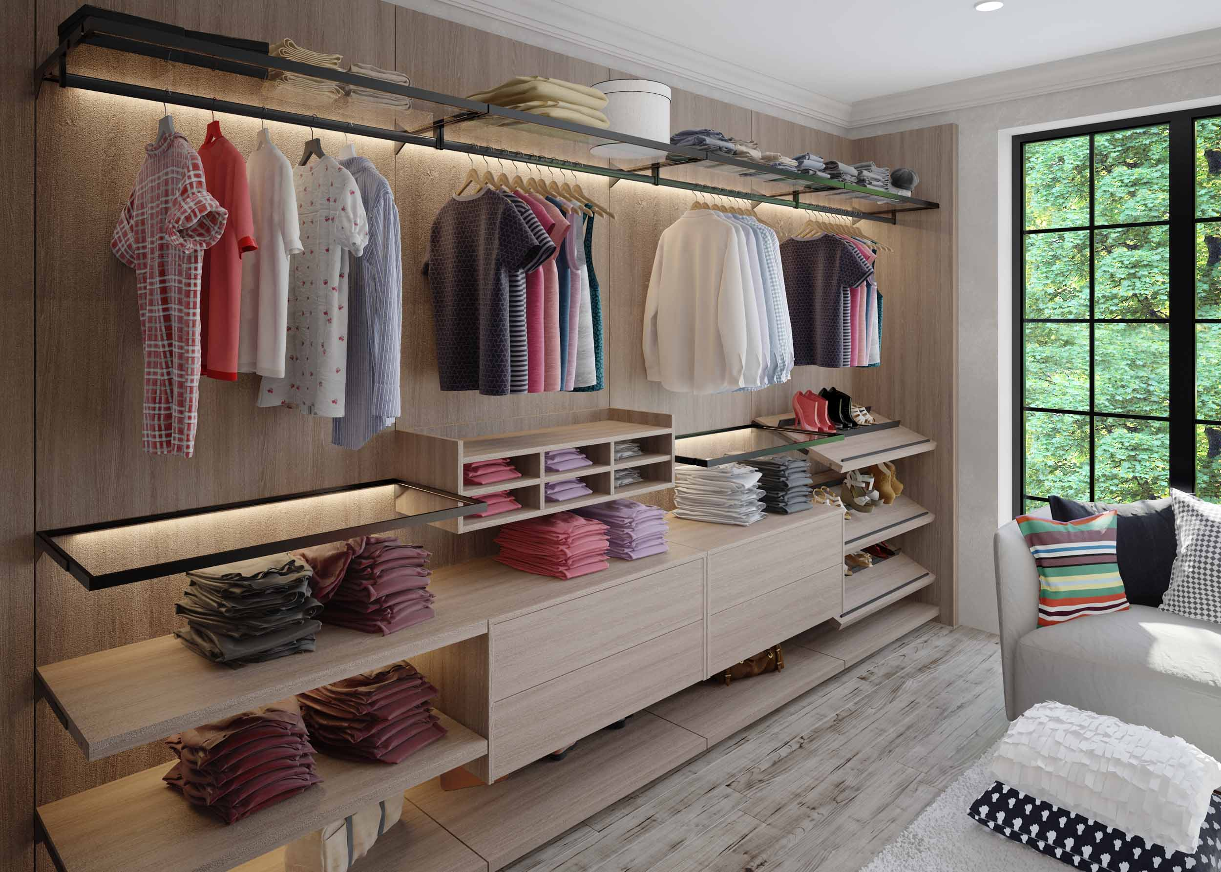 Linear Walkin wardrobe with vertiko profile woodgrain finish