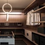 Linear Walking wardrobe with no side panels, completely open