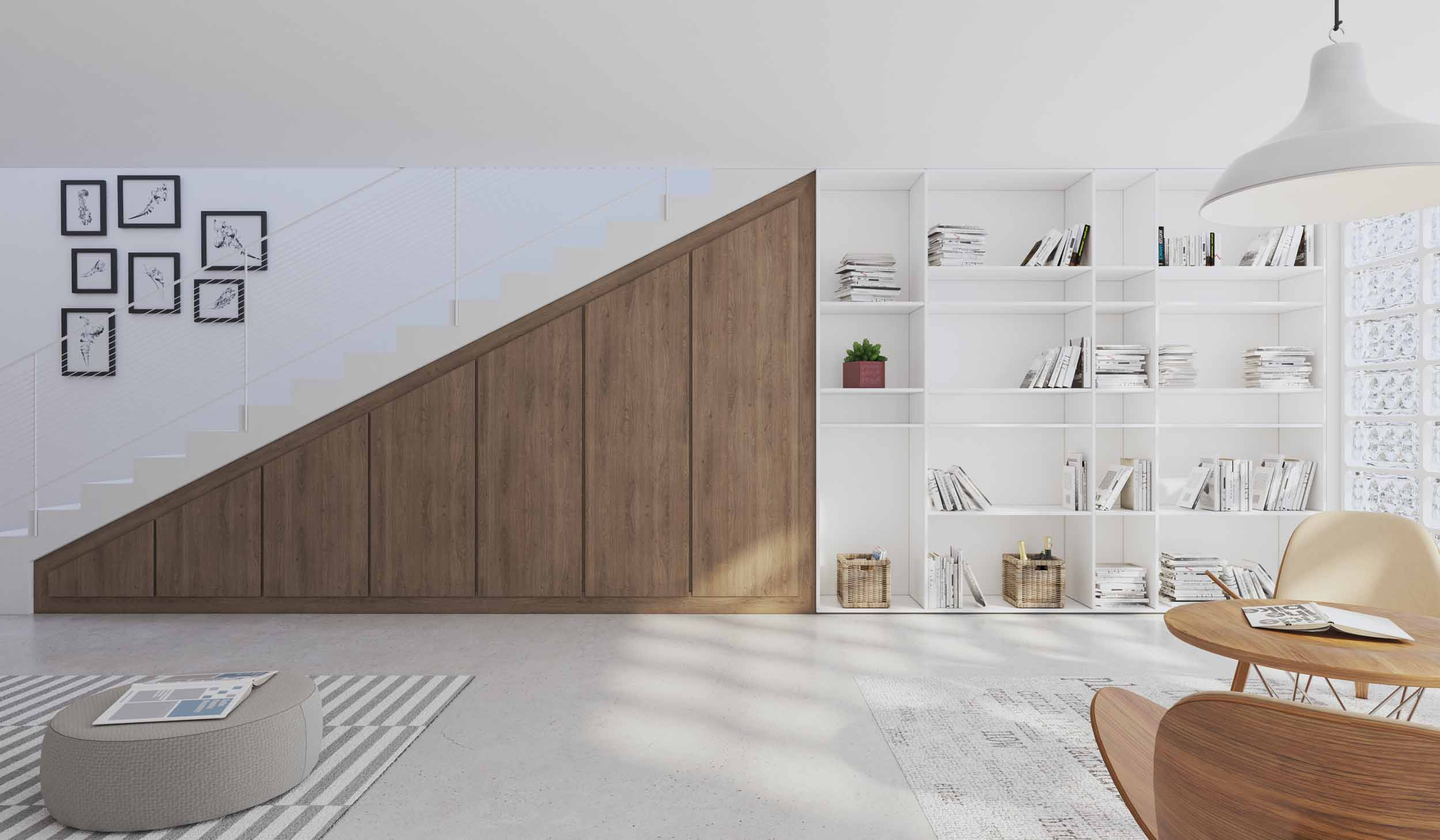 Under Staircase Storage in Woodgrain Finish With White Display Shelving