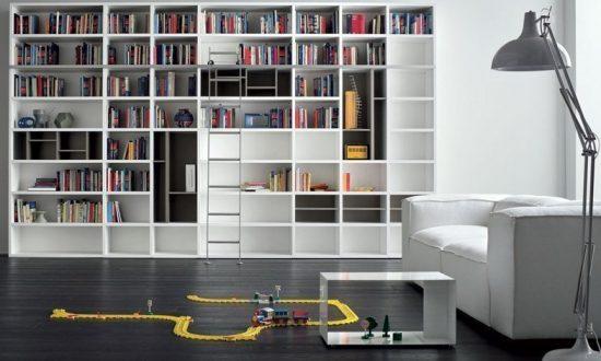 Open Book shelf in matt white and grey finish