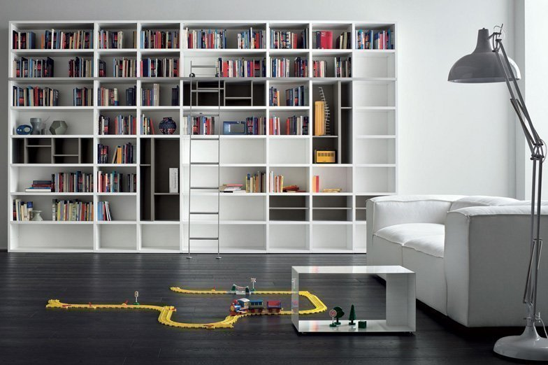 Open Book shelf in matt white and grey finish