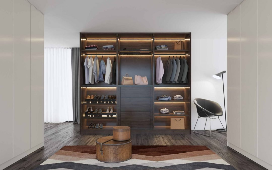 Walkin Fitted Wardrobe dark wood with white hinged fitted wardrobe