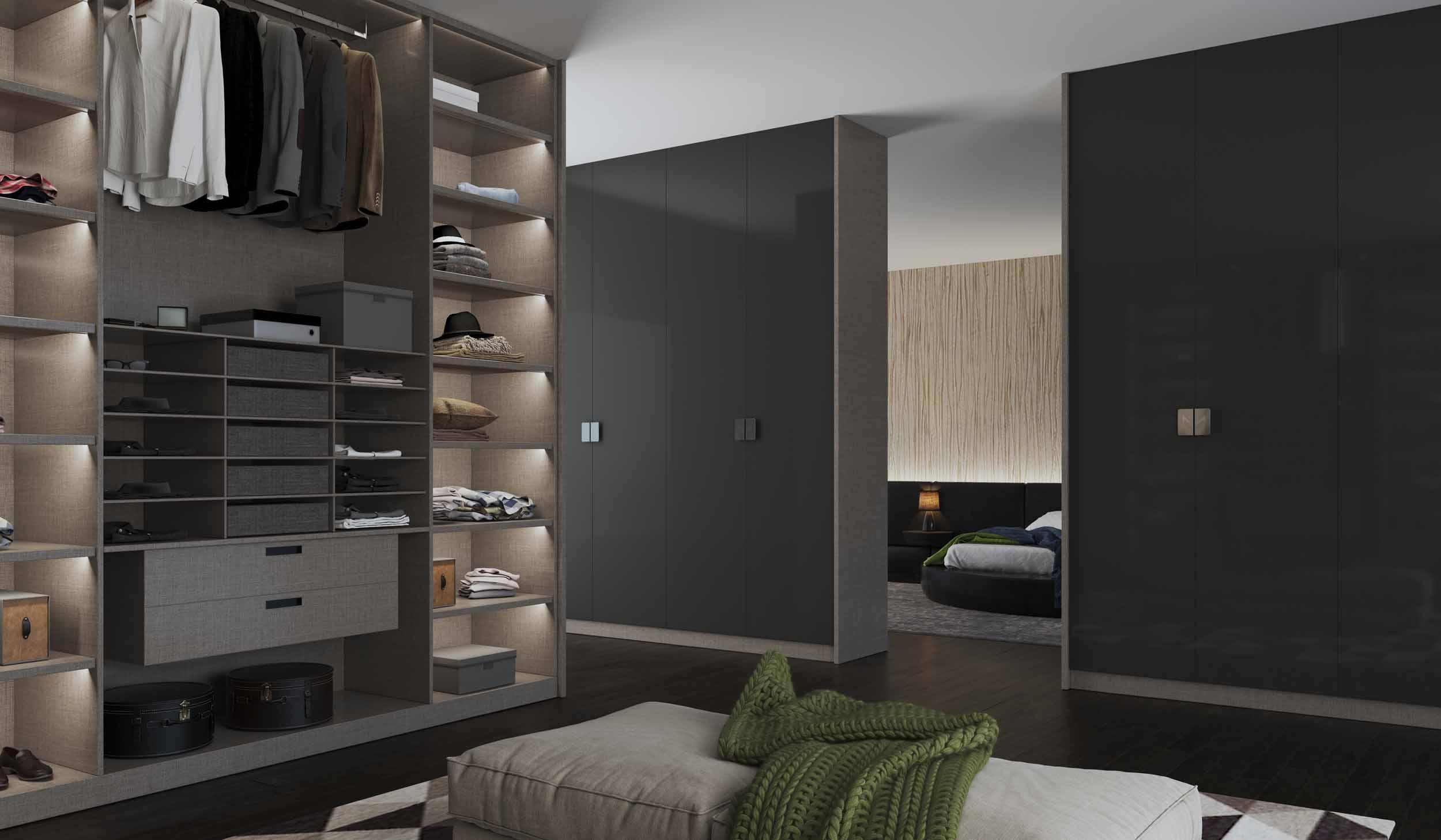 Grey Gloss FItted Wardrobe with Walkin Wardrobe Grey Textile