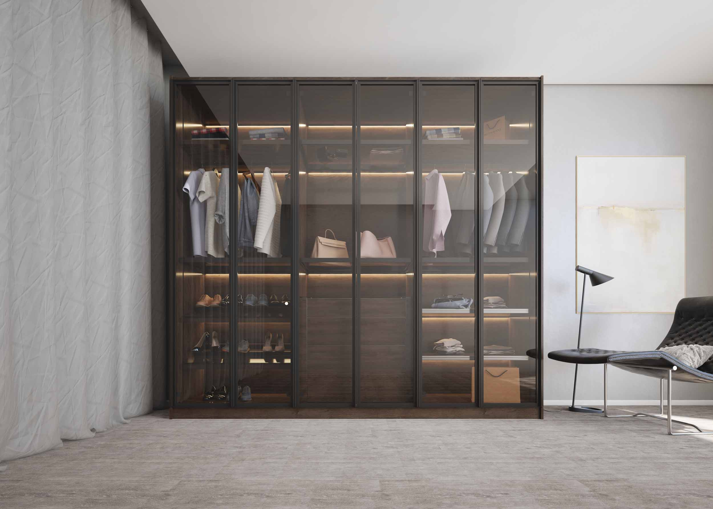 Linear Glass fitted wardrobe with aluminium Handle profile with woodgrain finish