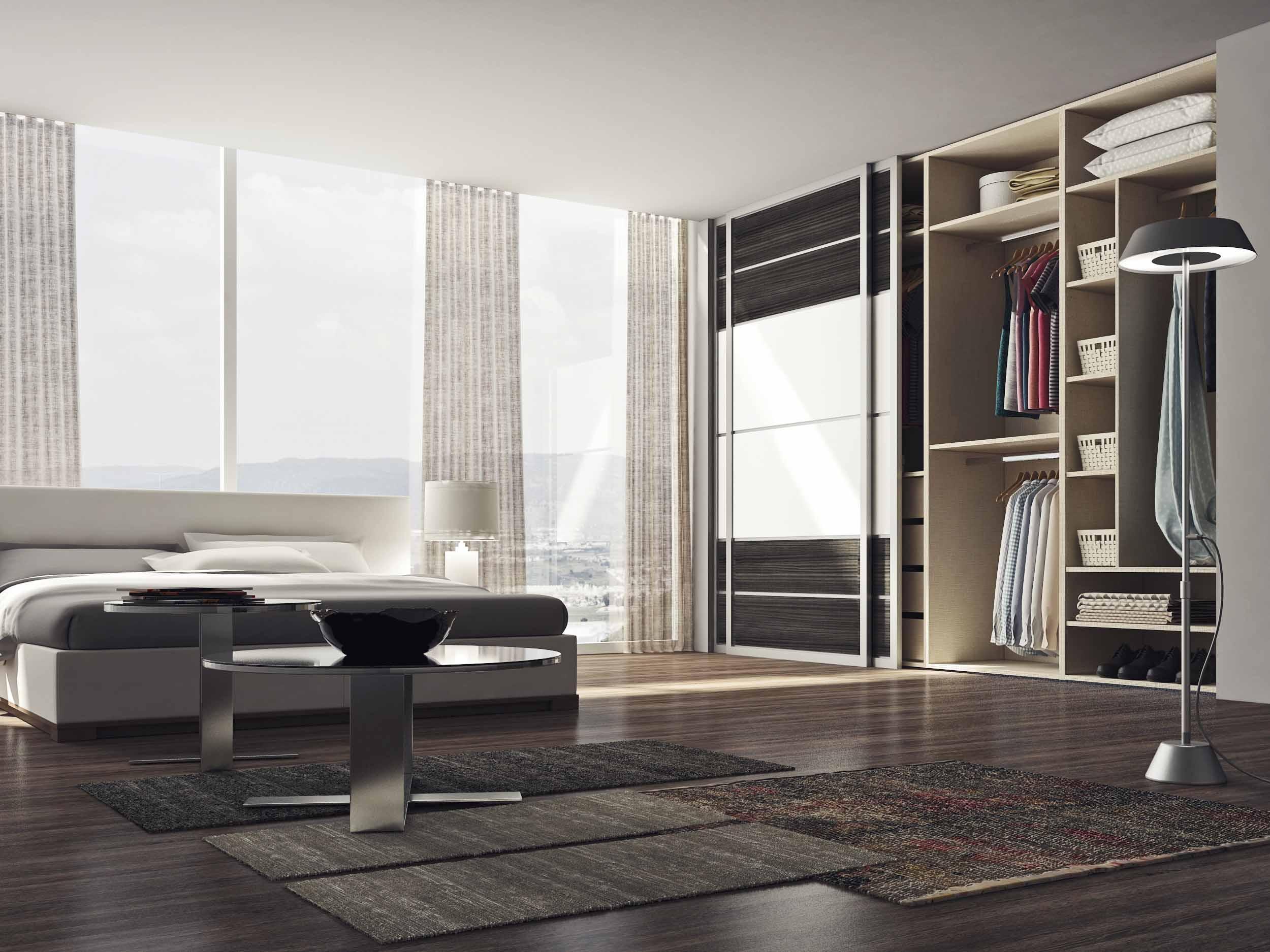 Sliding wardrobe with wood grain and matt panelling combination