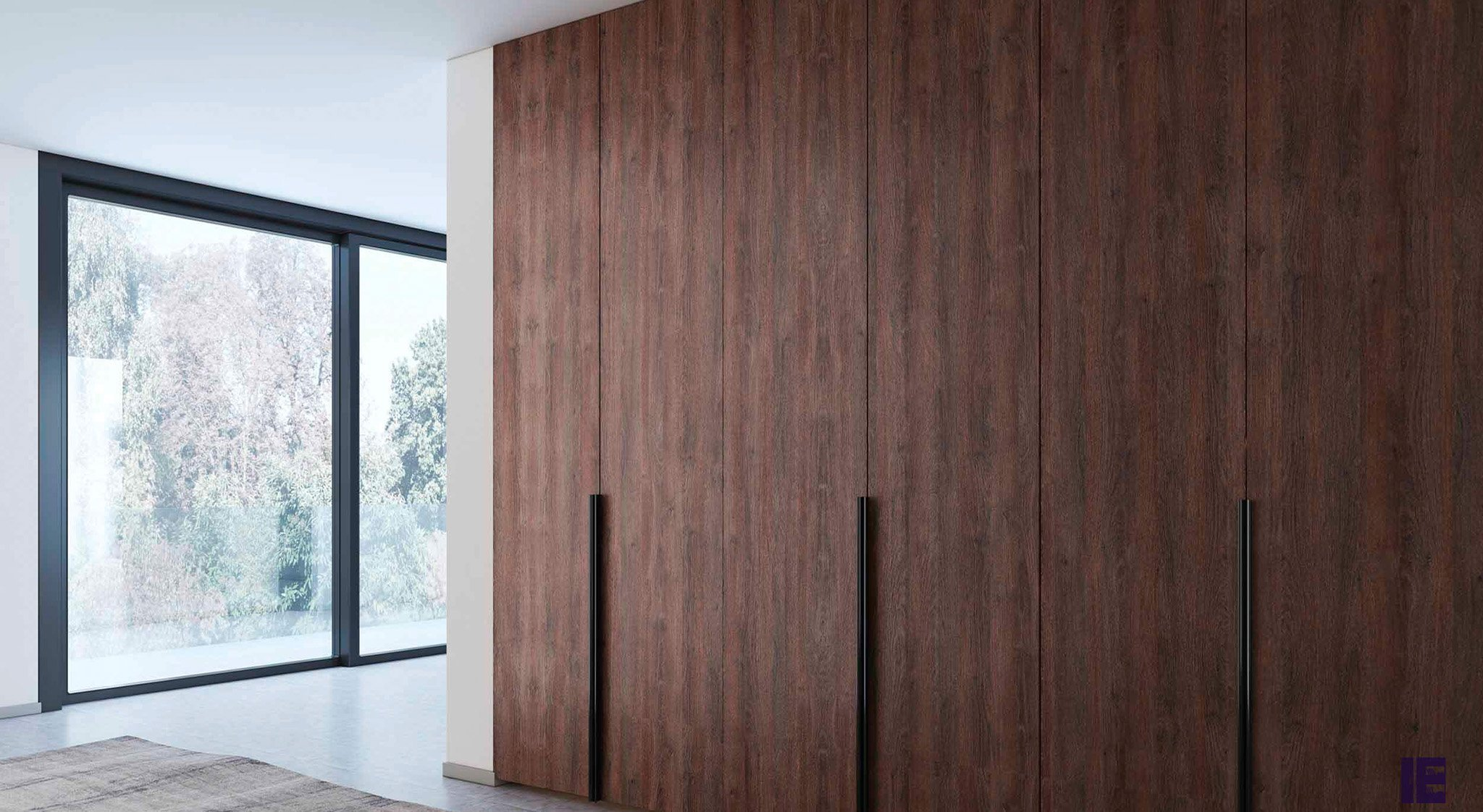 Hinged Fitted wardrobe in walnut finish with long handle
