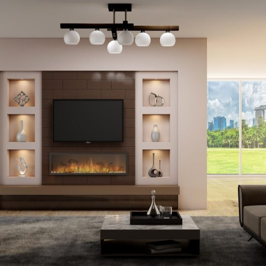 Bespoke wooden living room with Tv units