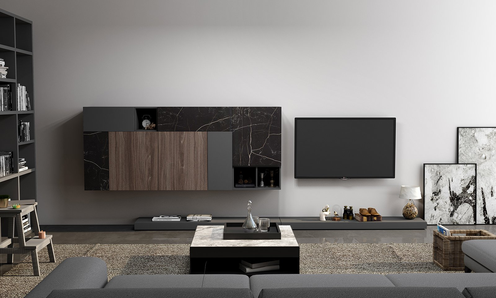 TV Unit with floating bookcase