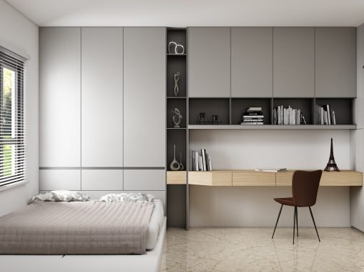 Small Bedroom with Study and Storage Solution