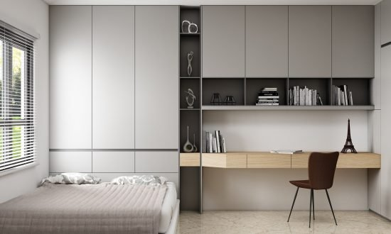 Bedroom Storage With Hinged Wardrobes and Study Unit Finished in Combination of Aluminium, Onyx Grey and Light Woodgrain