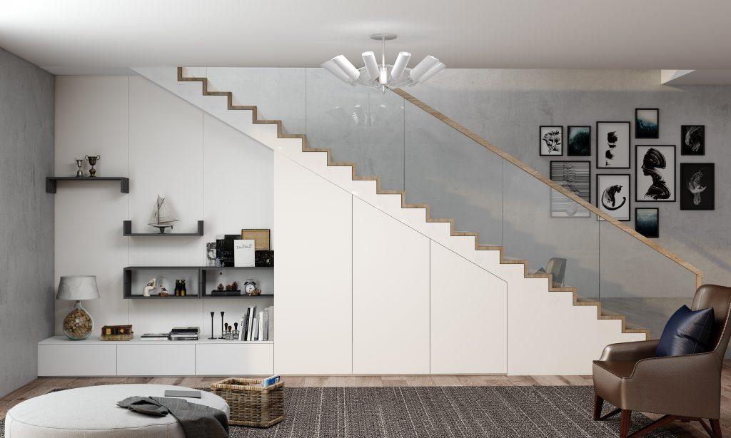Living room staircase loft open shelf