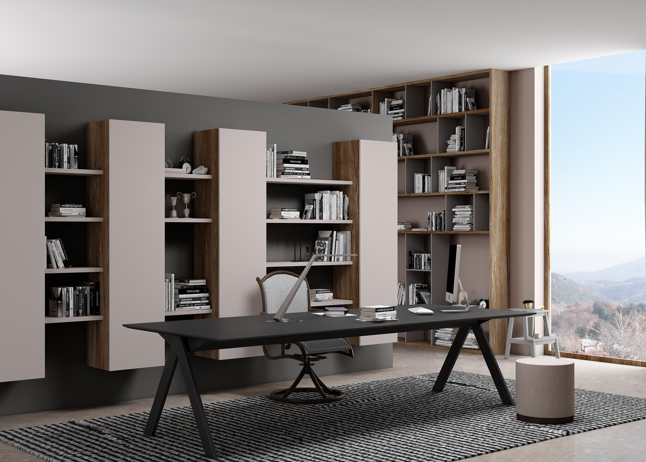 Study Office and Library Finished With Combination of Grey Beige Woodgrain and Cashmere Grey Matt