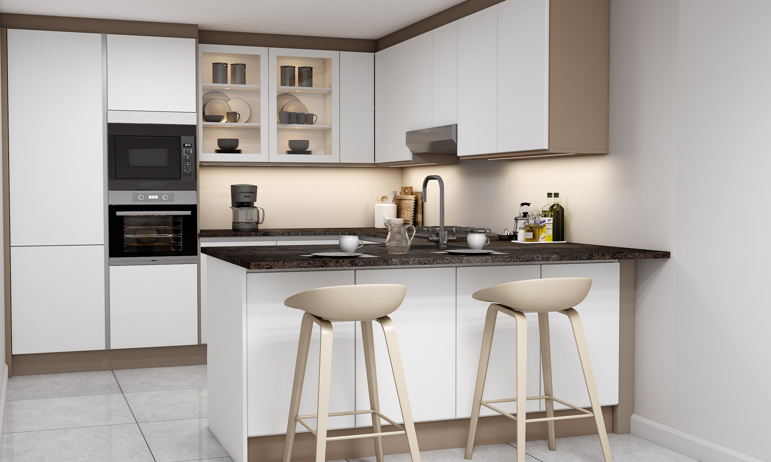 Lacquered Kitchens with Handleless Finish