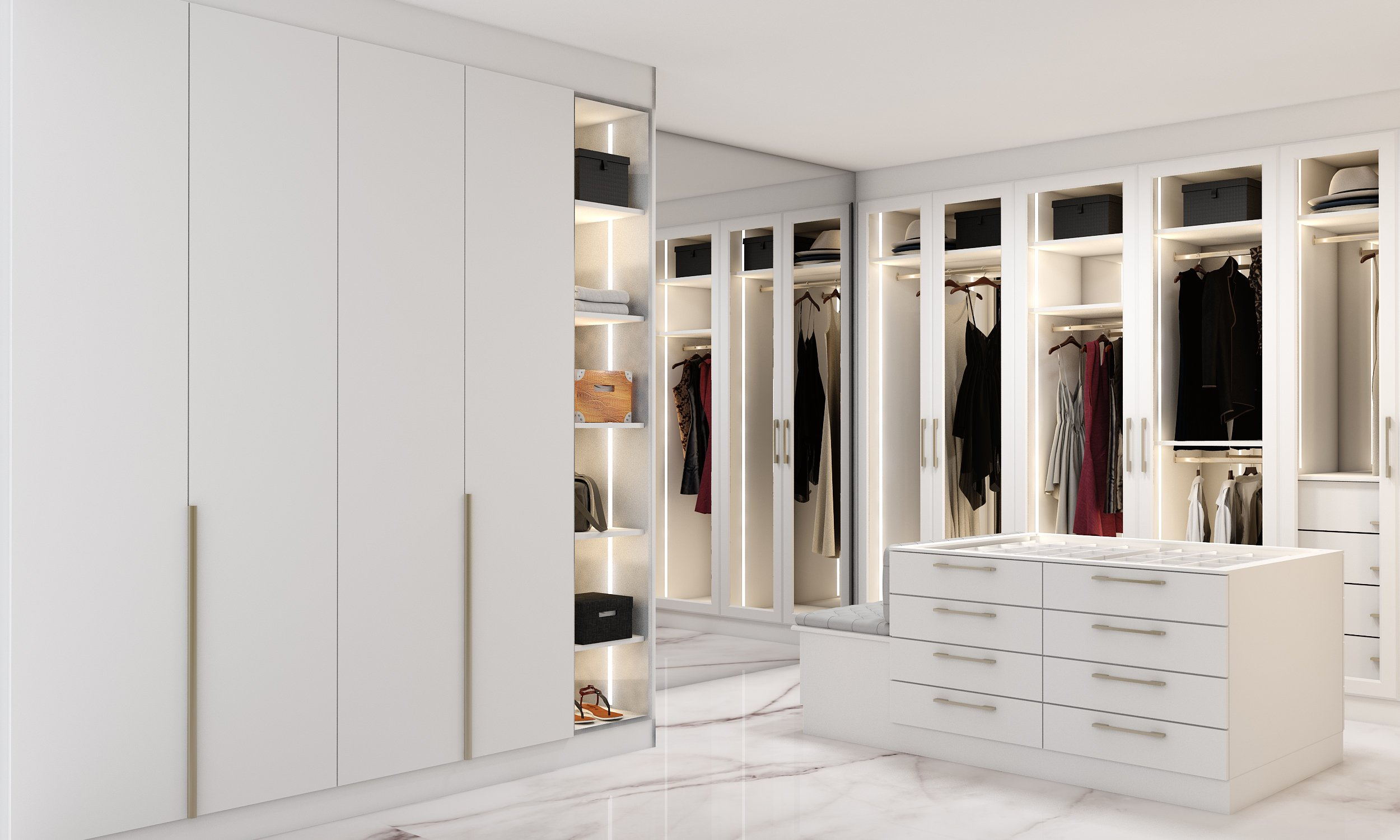 Glass Framed Hinged Wardrobe in White Finish With Mirror Back & Dressing Island