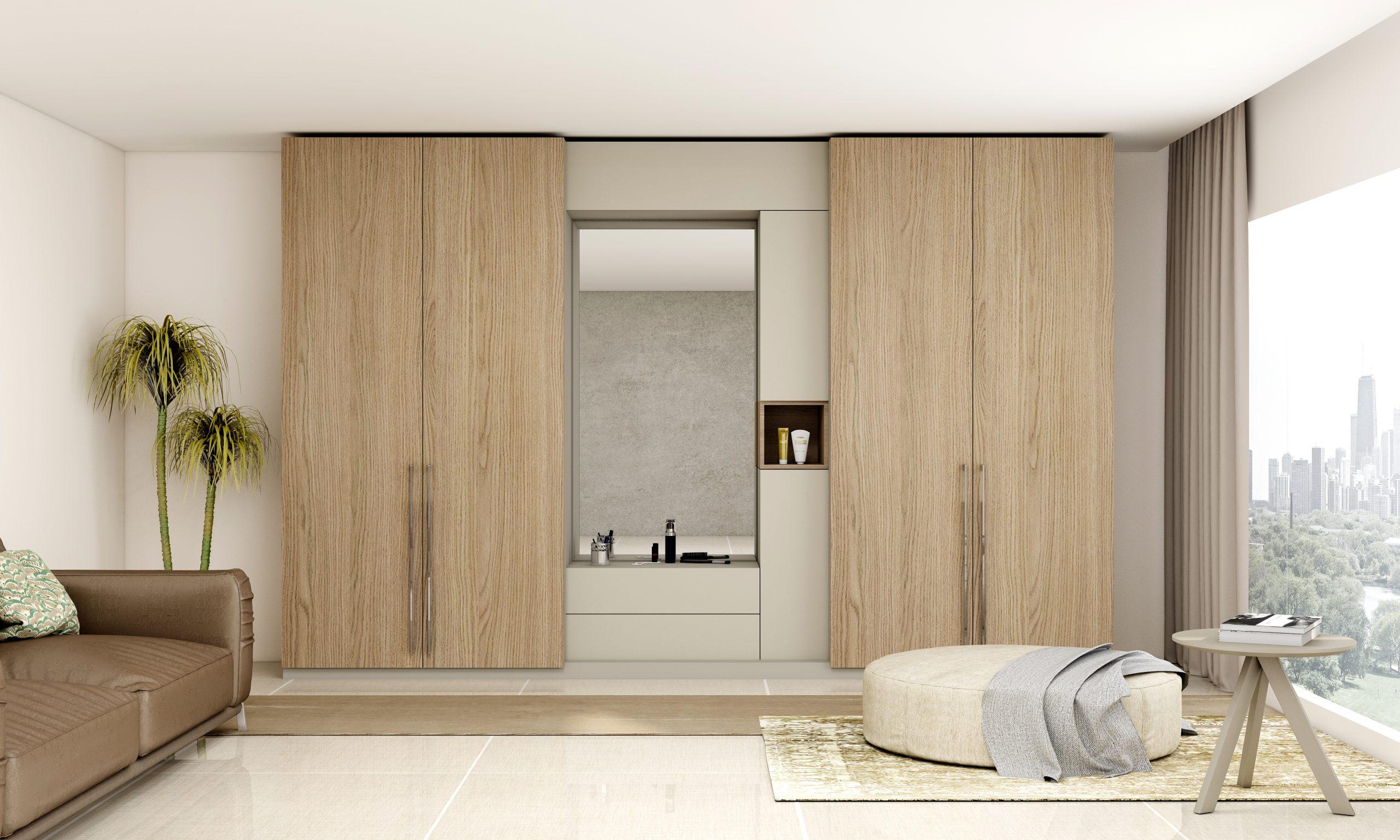 Hinged Wardrobe with Grey Vicenza Oak Aluminium