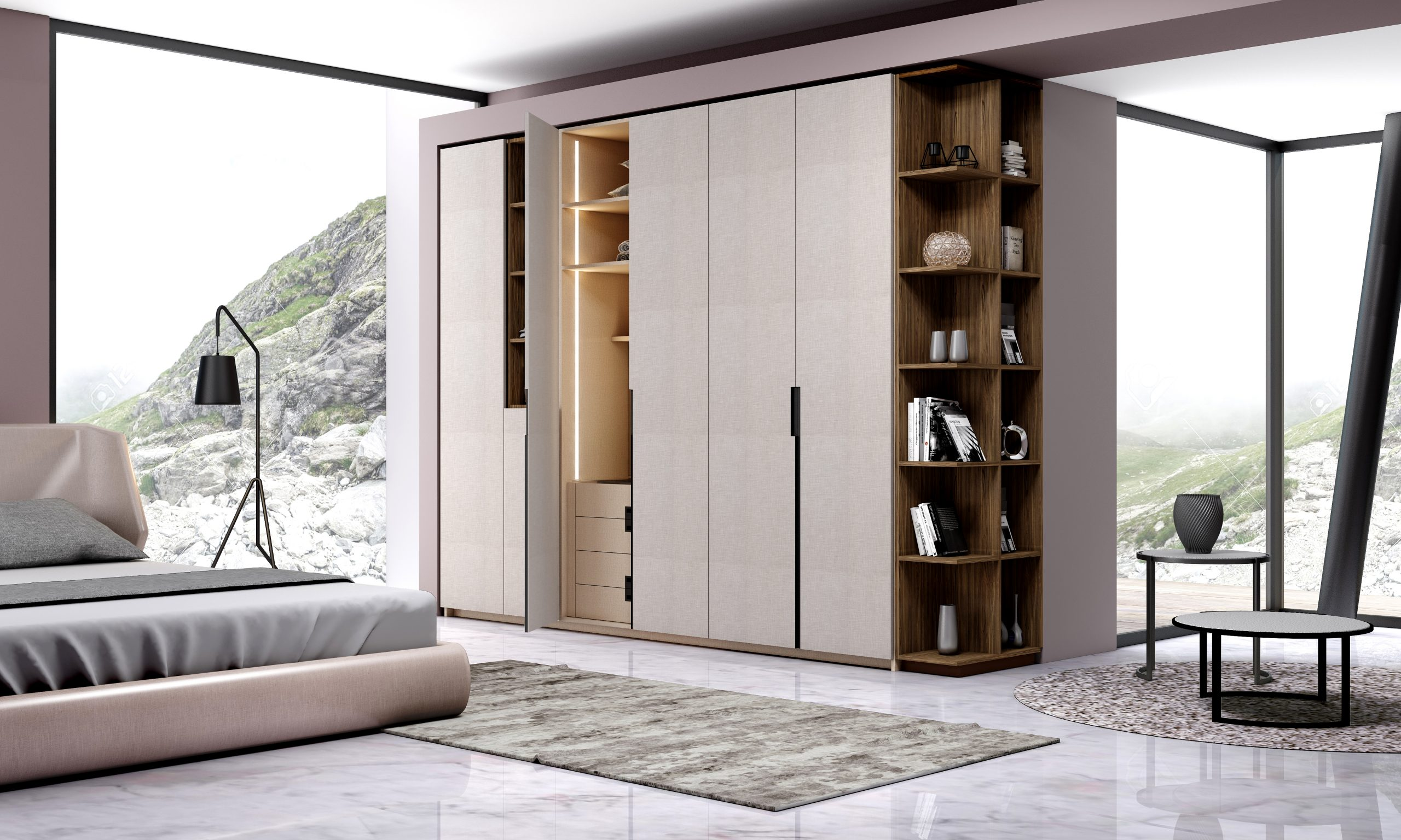 Hinged Fitted Wardrobe with Open Shelves in Grey Linen Finish and Esperia Textured Finish