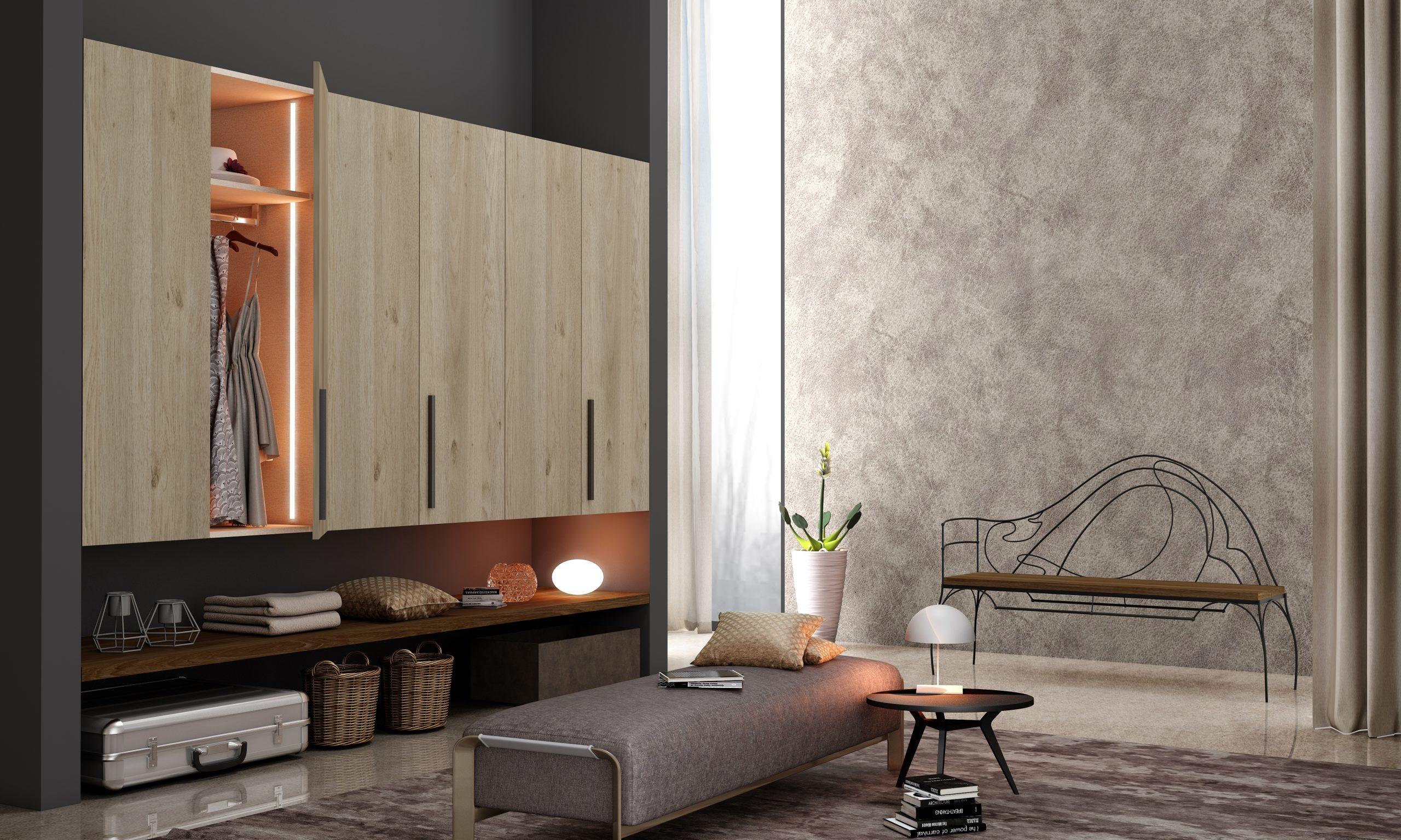 Hall Way Storage Solution With Hinged Wardrobe in Grey Odessa Oak Light Woodgrain Finish