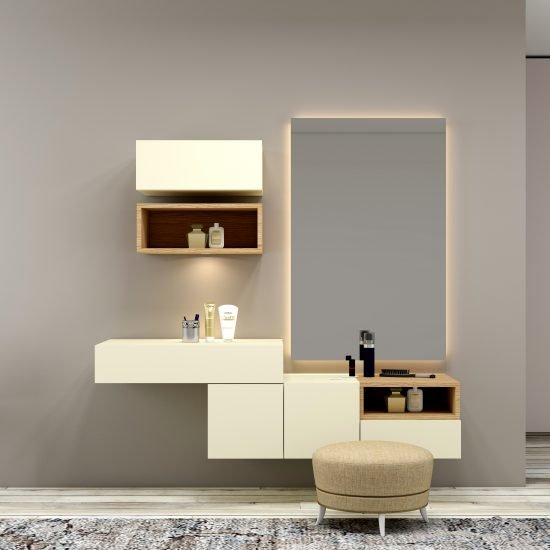 Bespoke dressing table with custom Storage in Creamy beige finish