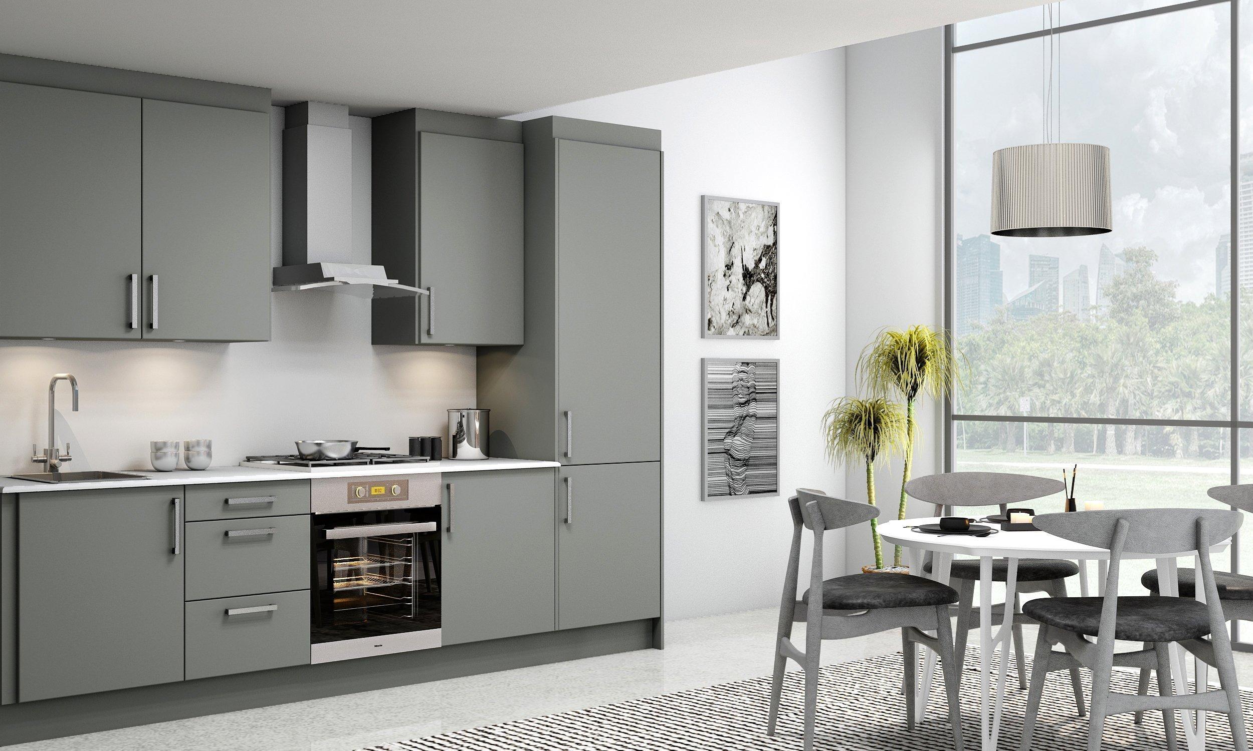 10ft Easyline Kitchen With Handle in Stone Grey Matt Finish