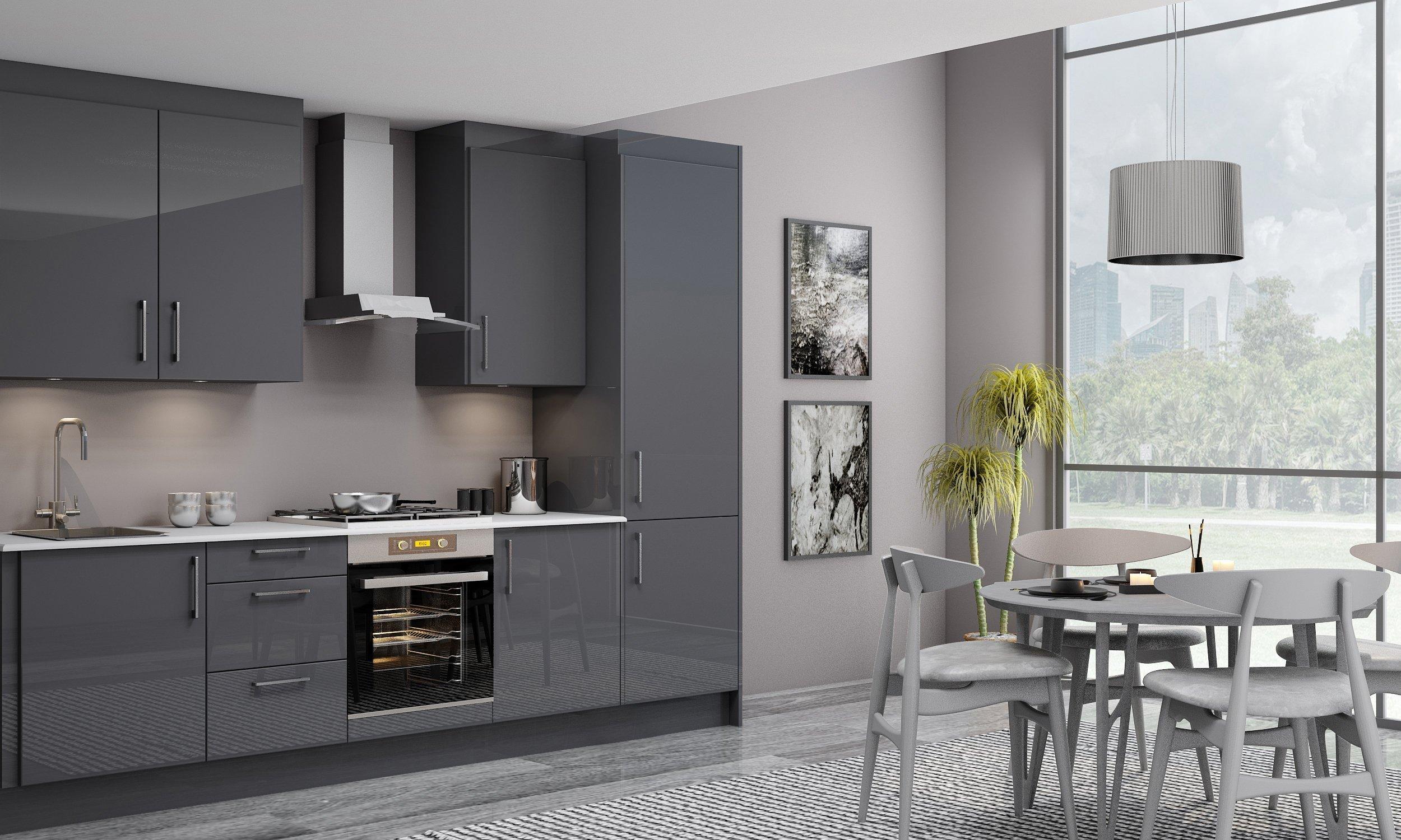 10ft Easyline Kitchen With Handle in Dark Grey Matt Finish