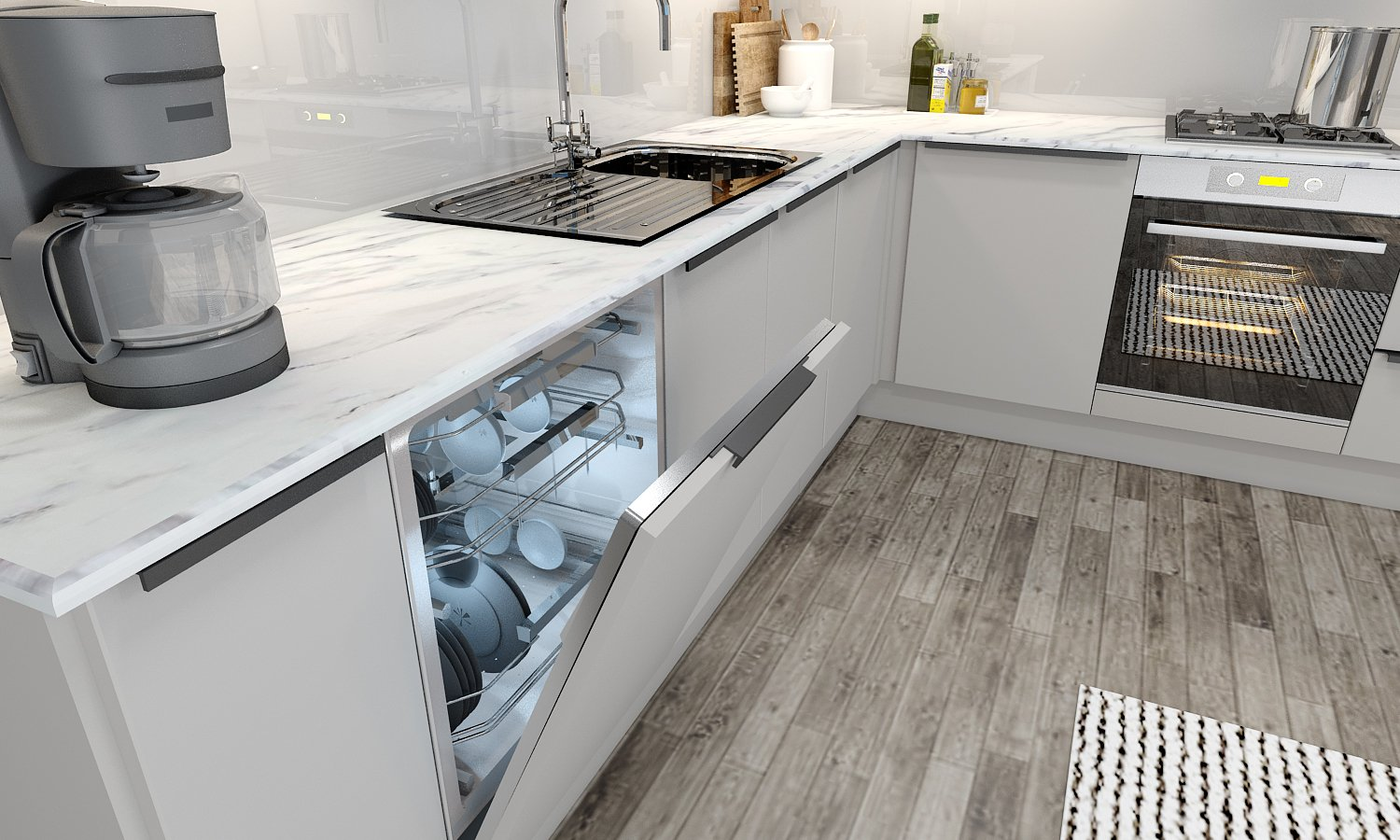 10ft X 10ft Kitchen With Profile Handle in White Matt