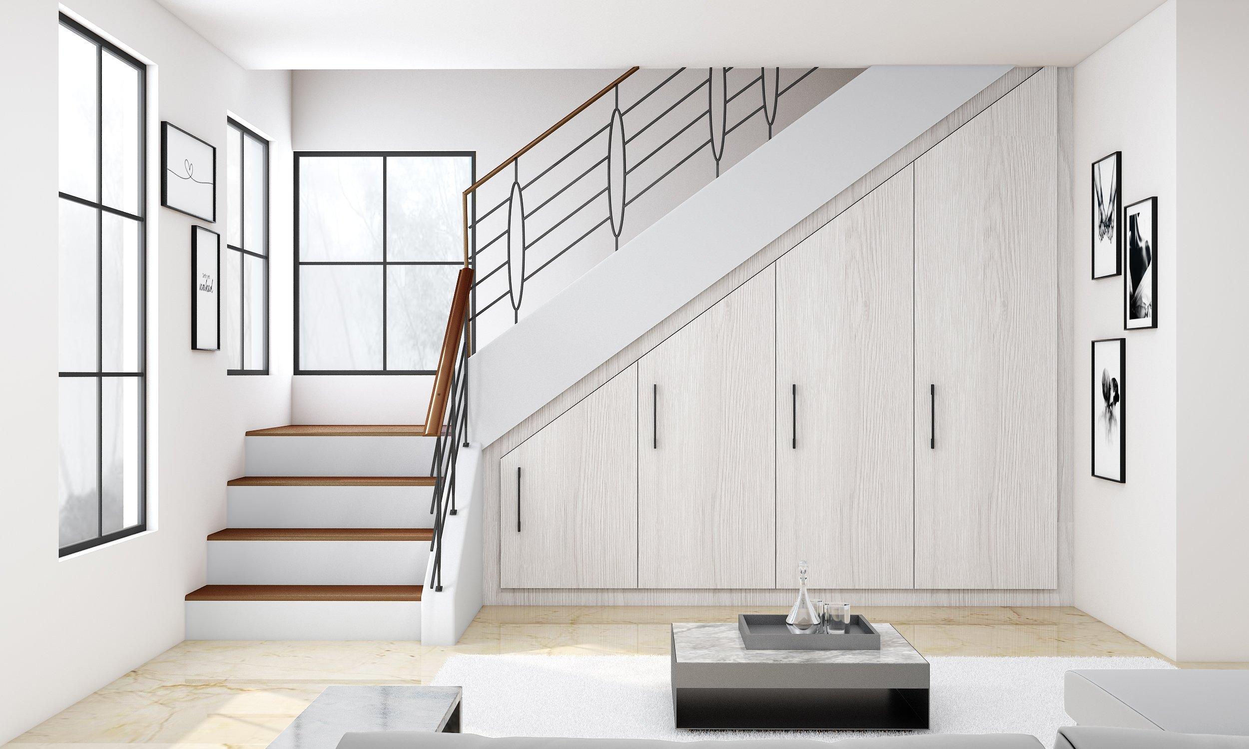 Attic Loft Fitted Staircase Wardrobe Storage in White Oak Woodgrain Finish