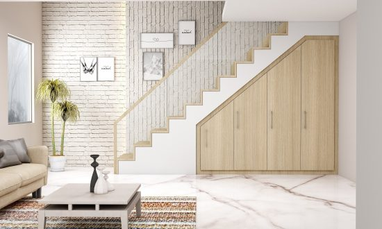 Attic Loft Fitted staircase wardrobe storage in grey walnut finish