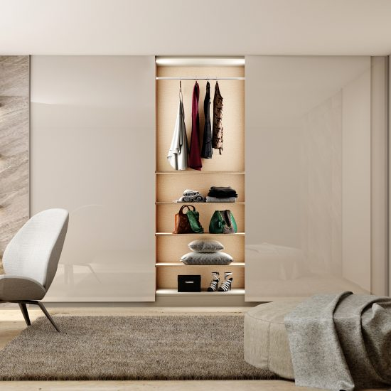 Made to measure top hung frame less L Shape sliding wardrobe in Grey Finish