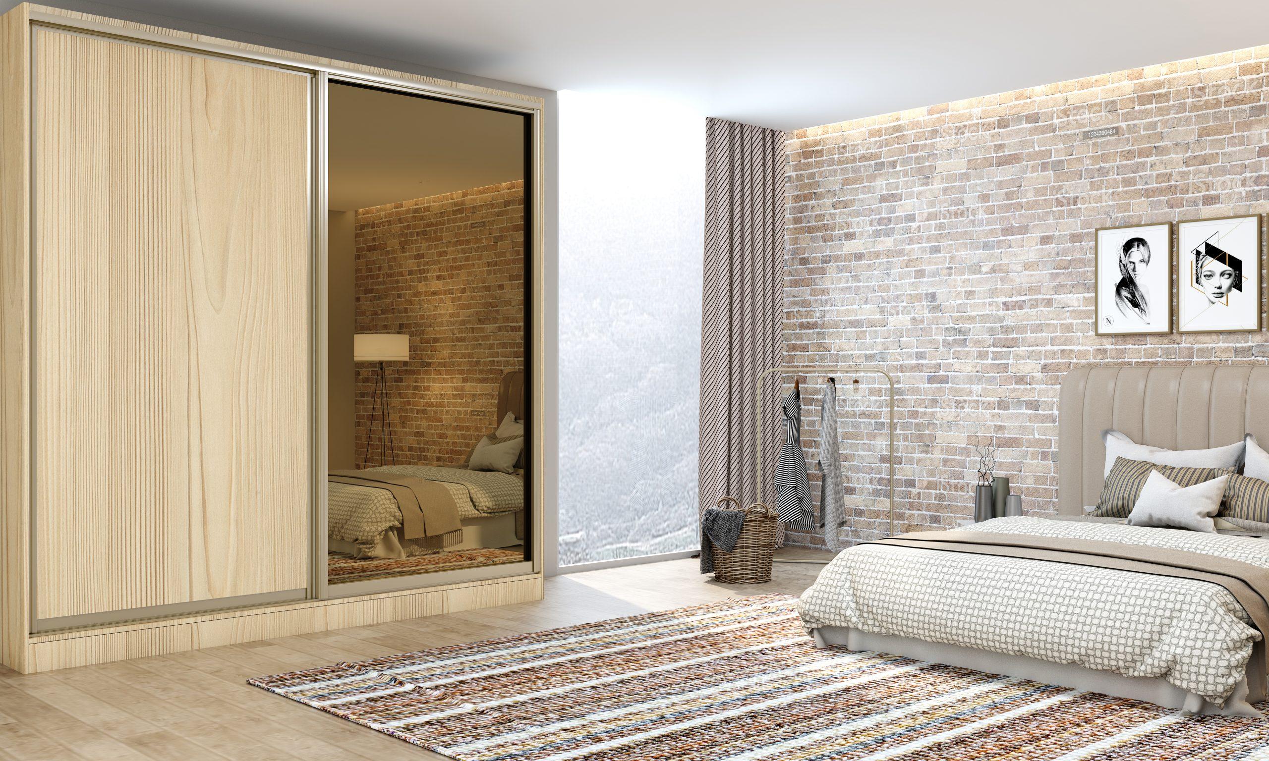 Bespoke Fitted Bedroom wooden sliding wardrobe in Woodgrain finish with full Bronze Mirror