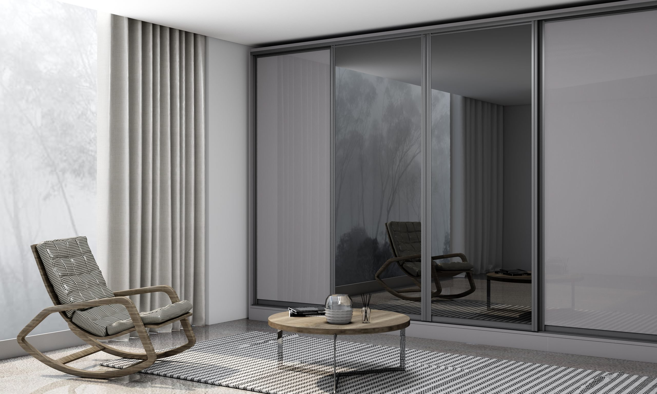 Bespoke Wooden Sliding Wardrobe in Gloss Grey Finish With Full Grey Tinted Mirror