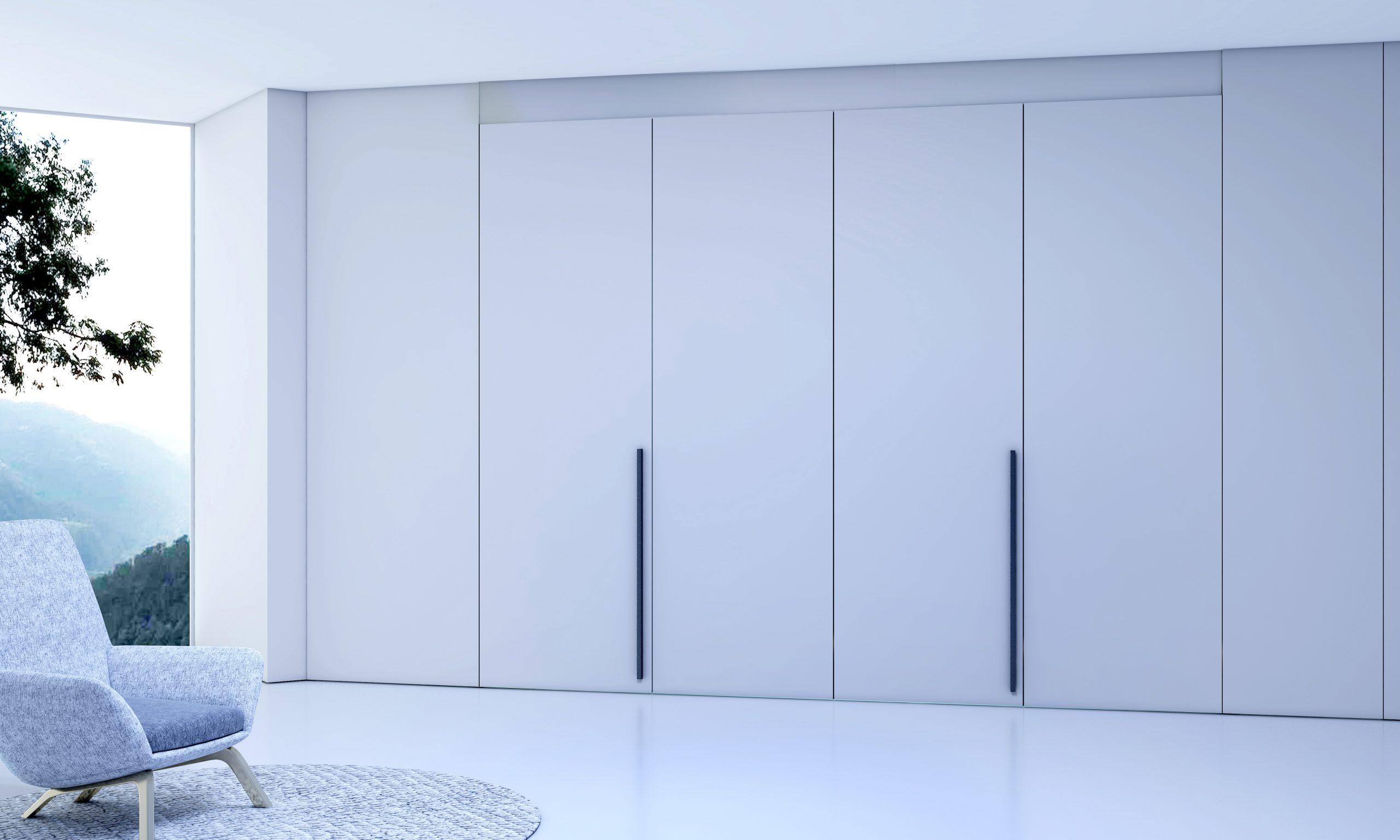 Bifold Walk-in Wardrobe in Stone Grey Finish With Long Handles